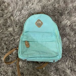 Handbags - light blue mini backpack with leather straps